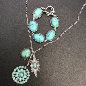 Lucky Brand Necklace and Turquoise Bracelet Set